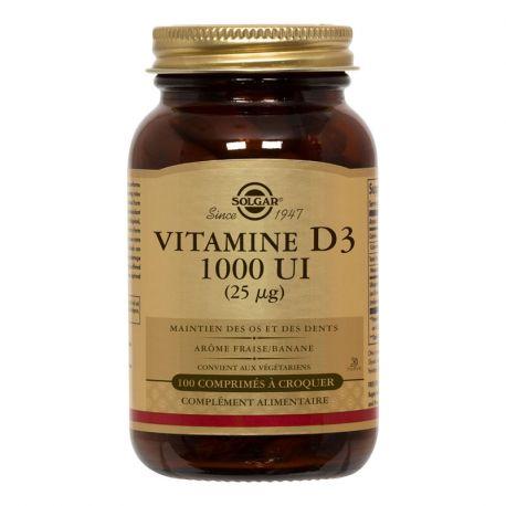 SOLGAR vitamina D3 100 MASTIGÁVEL