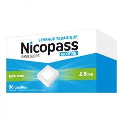 NICOPASS 1,5MG nicotine 96 PASTILLES SANS SUCRE EUCALYPTUS