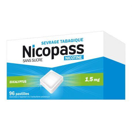 Nicopass 1,5 mg de nicotina 96 comprimidos SEM AÇÚCAR DE EUCALIPTO