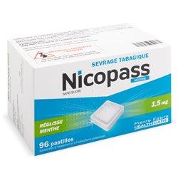 NICOPASS 1,5MG nicotine 96 PASTILLES SANS SUCRE Réglisse Menthe