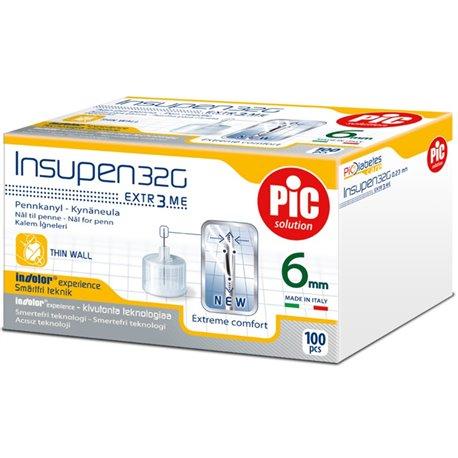 Insupen aiguilles pour stylo insuline PIC SOLUTION G32 6mm B/100
