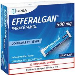 EFFERALGAN 500 mg paracétamol 16 sticks vanille-fraise