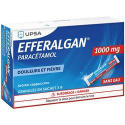 EFFERALGAN 1g Paracétamol 8 Sticks saveur cappuccino