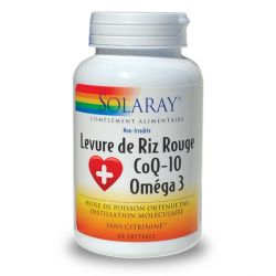 SOLARAY LEVURE DE RIZ ROUGE + CO Q10 + OMÉGA 3 60 CAPS
