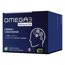 Santé-Verte Omega3 1000mg DHA Mémoire Concentration 60 capsules