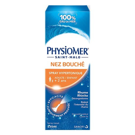 PHYSIOMER Hypertonic nasal spray Seawater 135 ML