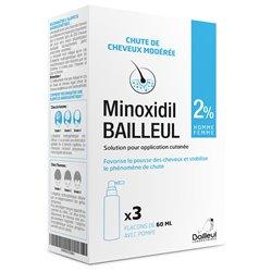 MINOXIDIL Bailleul 2% Chute de cheveux 3x60ml