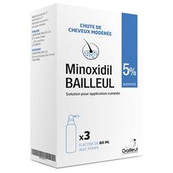 MINOXIDIL Bailleul 5% Prévention calvitie 3x60ml