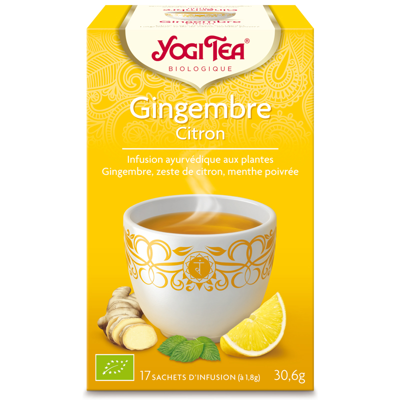 achetez yogi tea tisane gingembre citron infusion ayurv dique 17 sachets en pharmacie. Black Bedroom Furniture Sets. Home Design Ideas