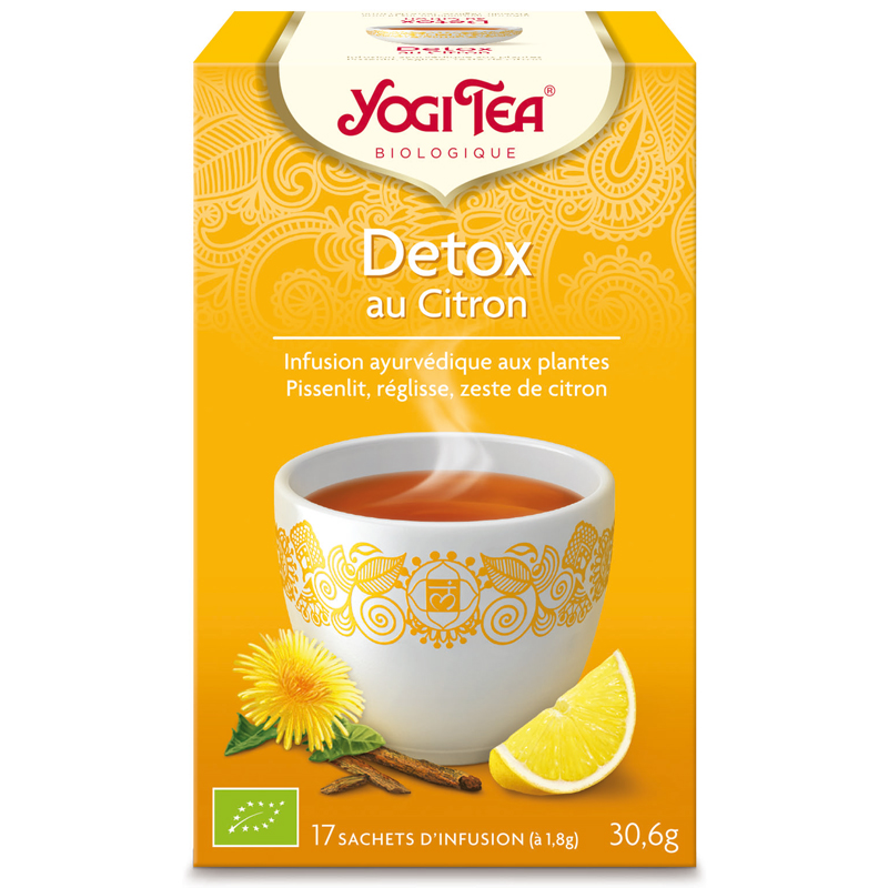 achetez yogi tea tisane detox citron infusion ayurv dique 17 sachets en pharmacie. Black Bedroom Furniture Sets. Home Design Ideas