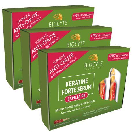 KERATINE FORTE Sérum anti-chute & croissance du cheveu 5 ampoules Biocyte lot de 2 + 1 offert