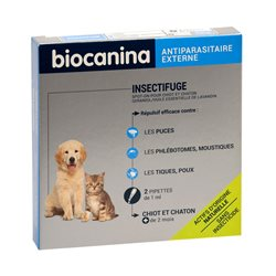 BIOCANINA INSECTIFUGE NATUREL SPOT-ON CHIOT CHATON 2 PIPETTES
