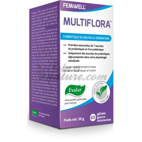 FEMiWELL MultiFlora Probiotique flore intestinale 60 gélules