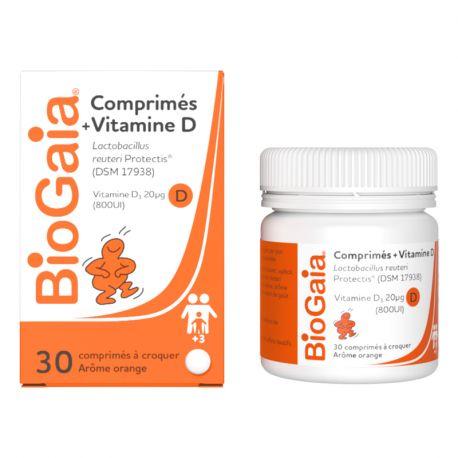 Biogaia Vitamine D PROBIOTIQUE 30 COMPRIMES A CROQUER CITRON