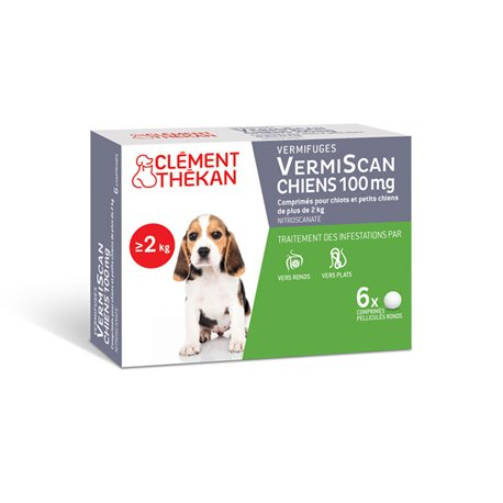 Wormafdrijvend Puppies Vermiscan CLEMENT Thékan 6 tabletten
