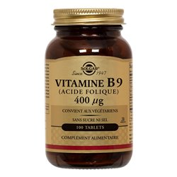 B9 Ácido Fólico Vitamina SOLGAR Folacina 400 mcg 100 Tablets