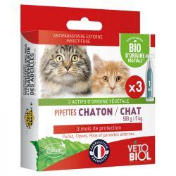 Vetobiol 4 pipetas Flea Natural Anti - Cat 1 a 5 kg