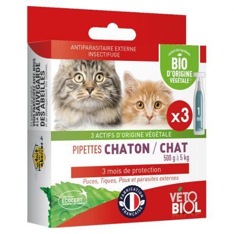 Vetobiol 3 Pipettes Anti Puces Naturel Chat Chaton