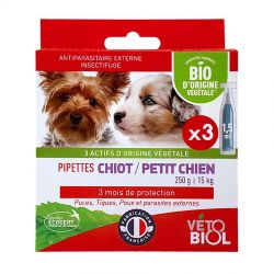 Vetobiol Anti Puces Naturel Pipettes Chiot Petit Chien 1 à 10 kg