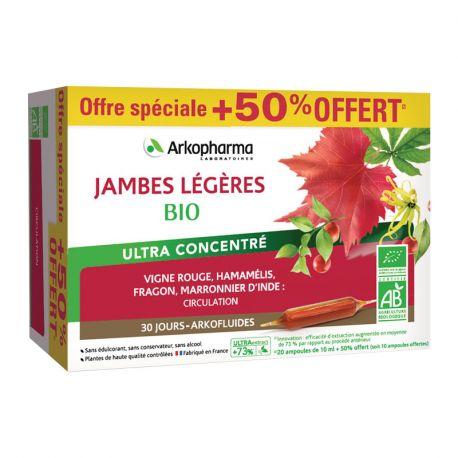ARKOPHARMA Arkofluides Jambes Légères Bio 20 ampoules + 10 ampoules offertes