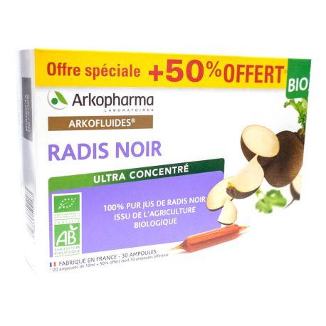 Arkofluide bio Radis Noir 20 ampoules 10 ml ARKOPHARMA + 10 ampoules offertes