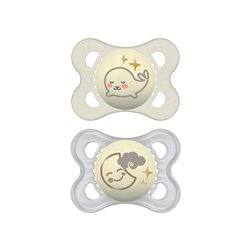 Mam Silicone Night Pacifier 0-6 months Lot of 2 ref 11