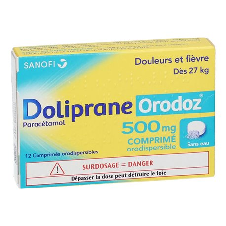 DOLIPRANEORO 500MG COMPRIMES ORODISPERSIBLES 12