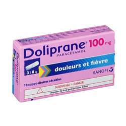 DOLIPRANE 100MG SUPPOSITOIRES SECABLE 10