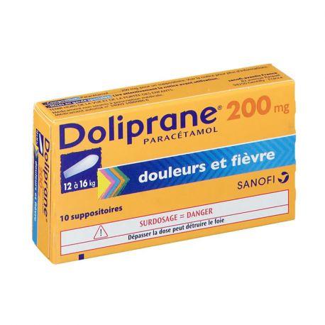 DOLIPRANE 200MG SUPPOSITOIRES 10