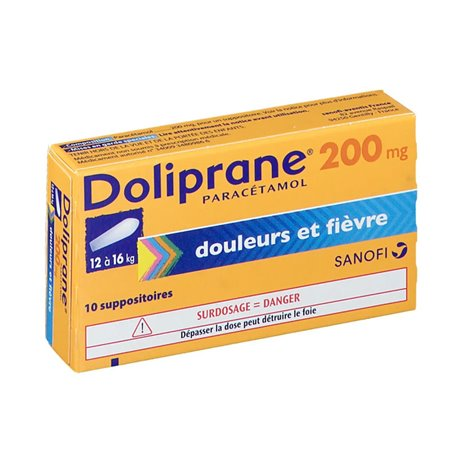 DOLIPRANE 200MG SUPPOSITOIRES 10