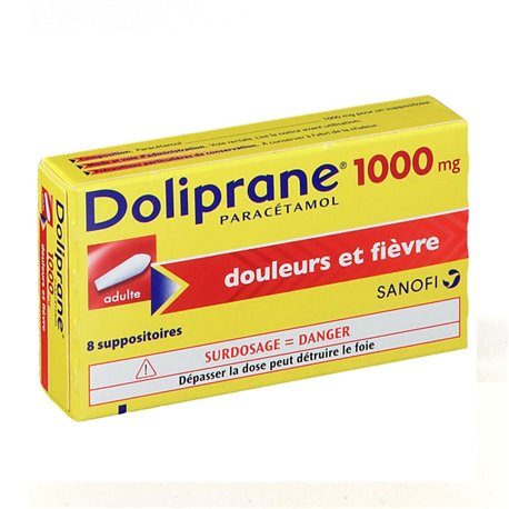 DOLIPRANE 1 000MG ADULTE SUPPOSITOIRES 8