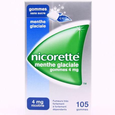 NICORETTE 4MG GOMMES MENTHE GLACIALE SANS SUCRE 105