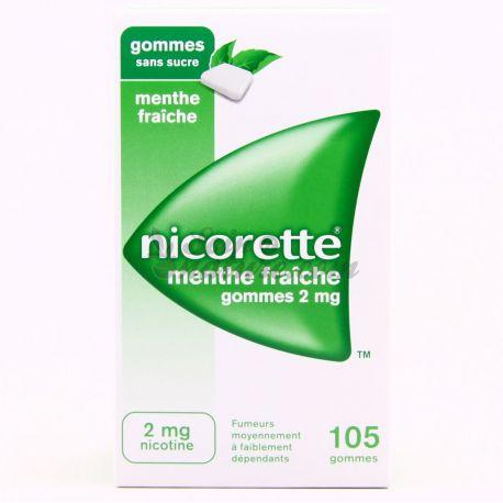 NICORETTE 2MG GOMMES MENTE FRAICHE SANS SUCRE 105
