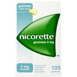 NICORETTE 4MG GOMMES SANS SUCRE 105