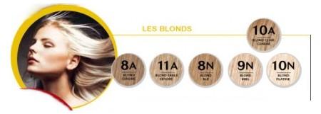 8a blond cendr 10a blond clair cendr 11a blond sable cendr 8n blond bl 9n blond miel 10n blond platine - Soin Cheveux Blond Colors