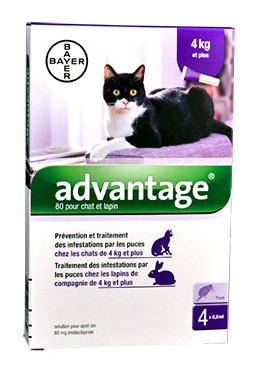 Pipetas Advantage 80 Conejo Gato Bayer Menos de 4 Kg 0,8 ML