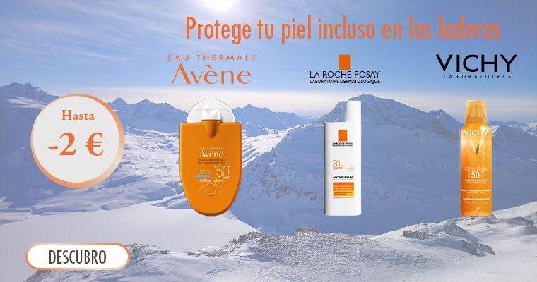 Hasta 2 € Se ofrece en las marcas de cuidado solar Vichy, Anthelios y Avène.
